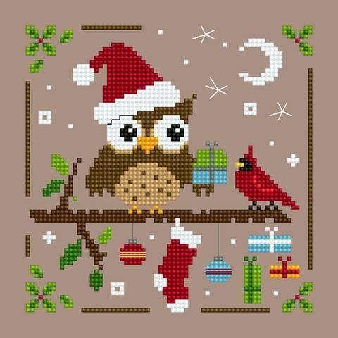 όμορφα σχέδια για κεντημένες κουκουβάγιεςΧριστουγεννιάτικες κουκουβάγιες / Christmas owls πηγή / source ένα όμορφο μαξιλάρι κουκουβάγια / a lovely owl cushion πηγή / source εορταστικές κου