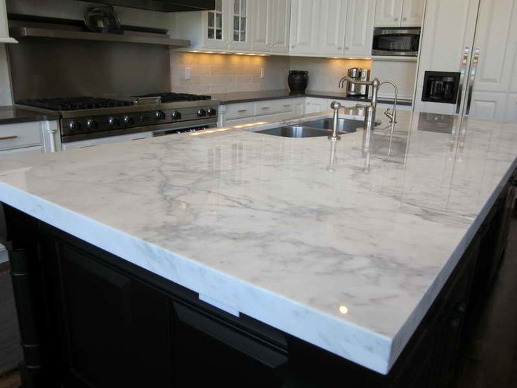 Kitchen: White Quartz Countertops Set On Combo Black Wooden Kitchen Island  Countertops And Cabinets: