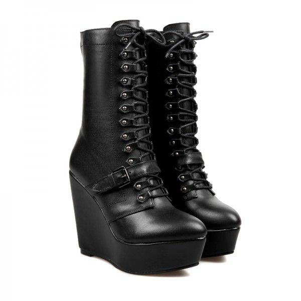 Lace up combat wedge boots from chiko shoes