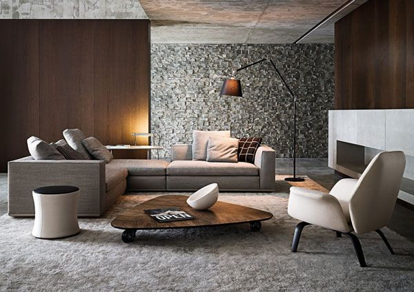 Warm taupe sofa with grey minotti carpets.  The mix of browns casts a contemporary minimalist look.