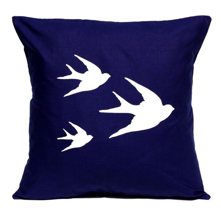 Swallows handmade cushion cover