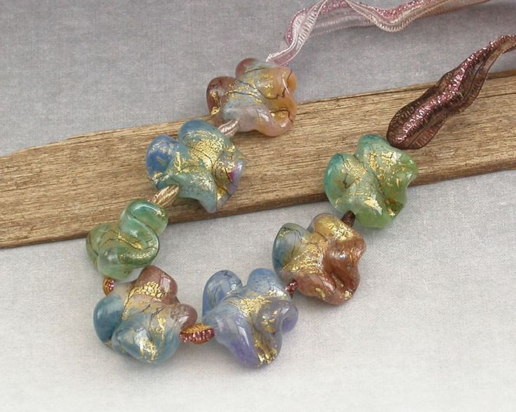 Lampwork Orphan Beads Set 2 - Colourful Lampwork Glass Ruffle Beads with Gold - handmade by Emma Ralph SRA UK Art Beads by ejrbeads on Etsy