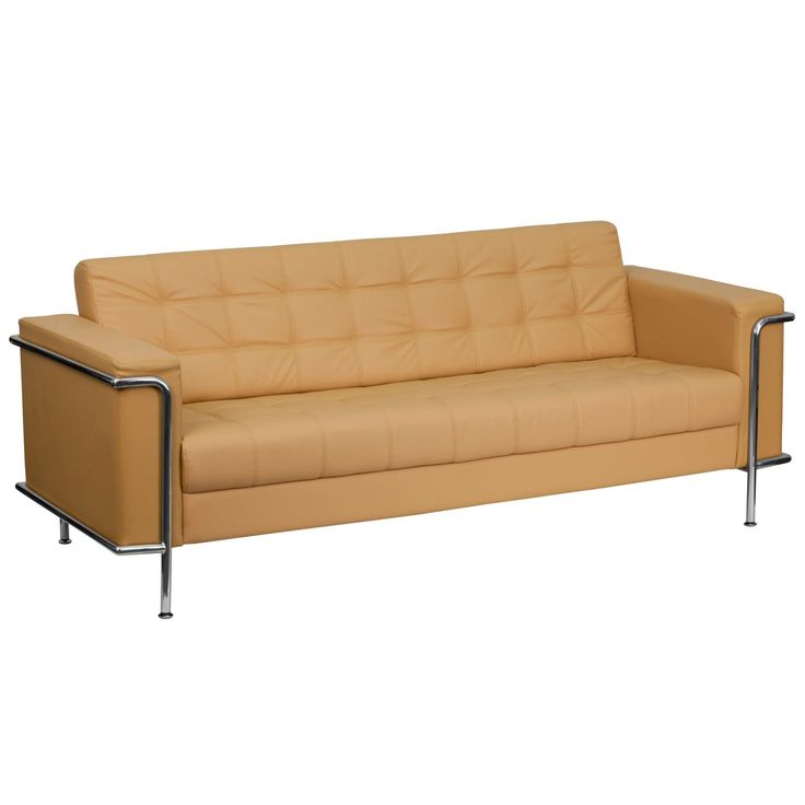 Flash Furniture Hercules Lesley Series Contemporary Light Brown Leather Sofa With Encasing Frame