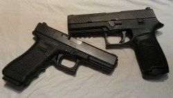 So I got a Sig Sauer P320. I saw it in a local pawn shop, sitting there in the glass case, perched on green velvet, looking all blocky and businesslike and badass. I handled it, fondled it, wiped the drool away, and made a trade