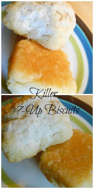 """7-Up Biscuits <3  6 Tb. butter, sliced 2-1/2 C Bisquick, 1/2 C sour cream,  1/2 C 7-up (room temp) While preheating oven to 450 F, melt the butter in 9"""" X 9"""" baking dish in oven.  In large bowl, mix Bisquick, sour cream & 7-Up with fork until blended. Form 9 biscuits, place on top of butter.   Bake 12 - 15 minutes or until tops brown."""