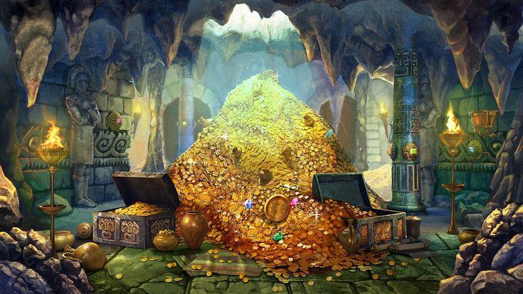 Скачать обои арт, сокровища, золото, украшения, раздел фантастика в разрешении 1920x1081