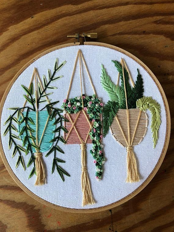Pastel Pots With Succulents Hanging Plants Embroidery Art Hoop Art Succu In 2020 Embroidery Flowers Pattern Embroidery Patterns Vintage Embroidery Hoop Art