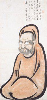 Bodhidharma (Daruma) 達磨図 By Hakuin Ekaku 白隠慧鶴 (1685-1768). H 122.0 cm x W 58.2…