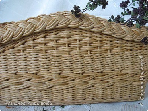 Поделка изделие Плетение Корзинка-органайзер на кухню Трубочки бумажные фото 2