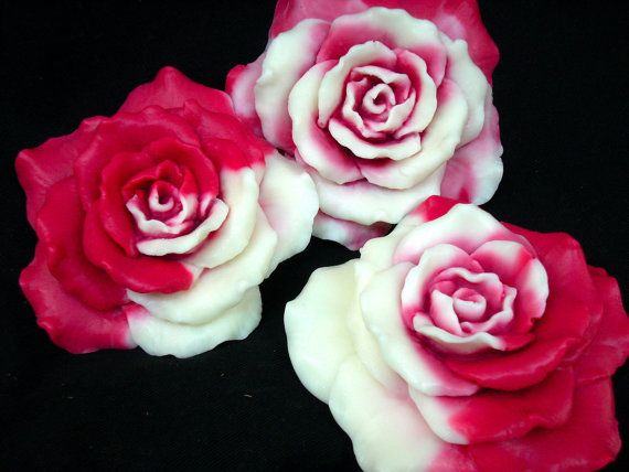 ROSE SOAP SET 2Tone Red Roses Handmade Super For by SanctuarySoap, $11.95