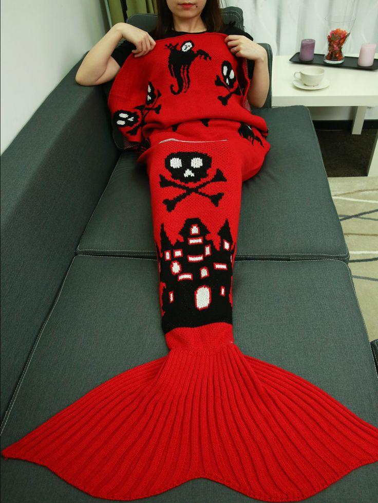 Halloween Castle Skull Crochet Knitting Mermaid Tail Style Blanket