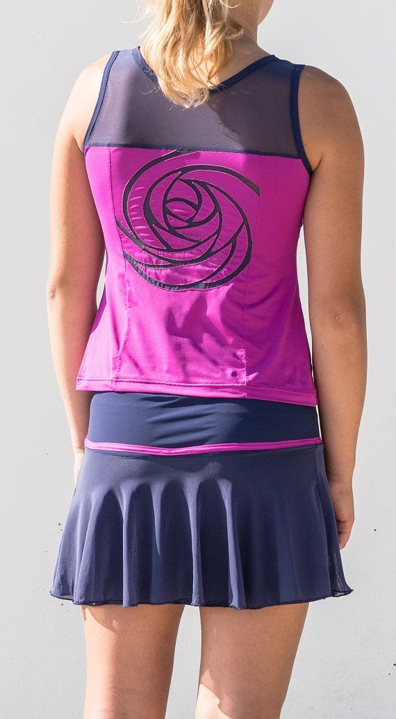 Complete woman tennis skirt and tank top with embroidered pink on the back stretch tulle and breathable microfibre fabric