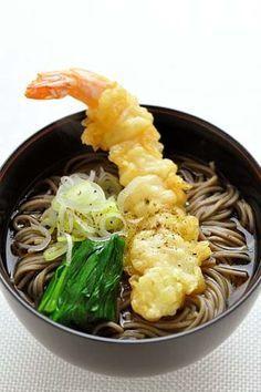 Toshikoshi Soba, Japanese Buckwheat Noodles Soup with Prawn Tempura, Traditionally Eaten at New Year's Eve Night in Japan|年越しそば #japan #food