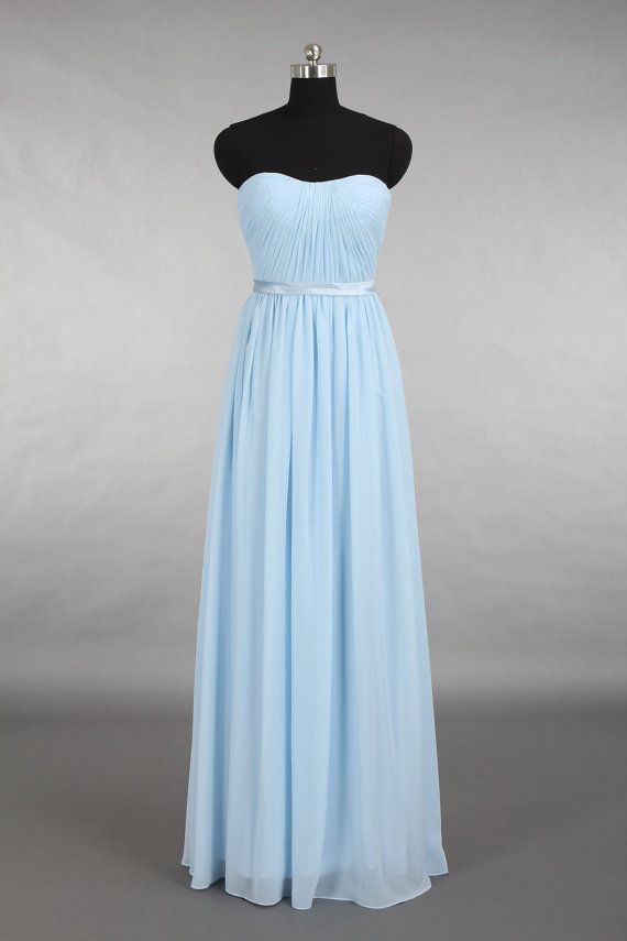 Light Blue Bridesmaid Dress, Strapless Floor Length Chiffon Bridesmaid Dress