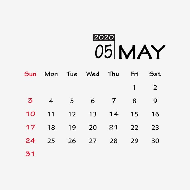 May 2020 Clipart Vector Png Element Design Calendar New2020