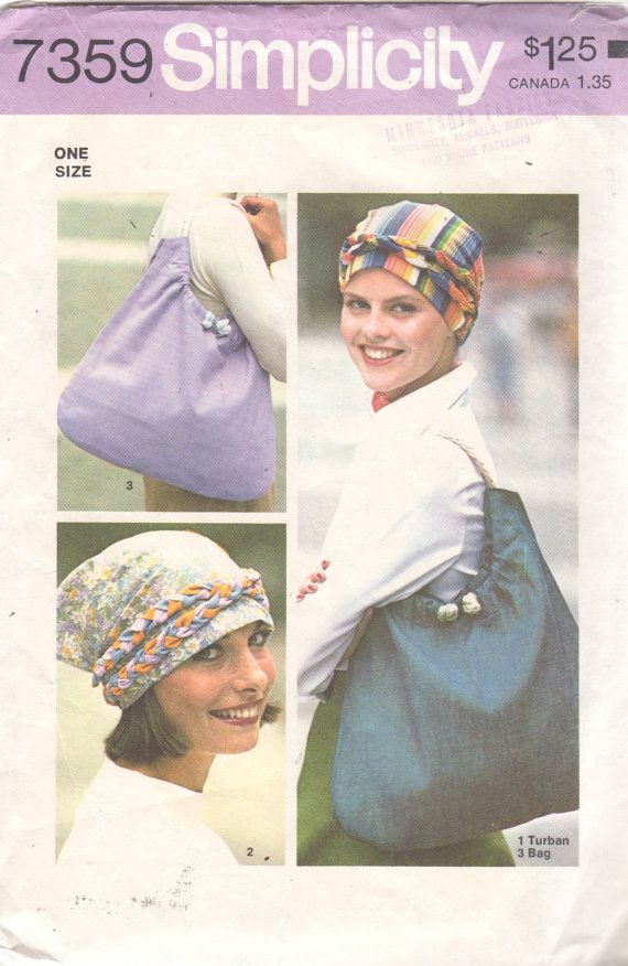 1970s Simplicity 7359 Misses Chemo Cancer Head Scarf Hat