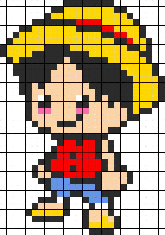 Monkey D. Luffy - One Piece perler bead pattern