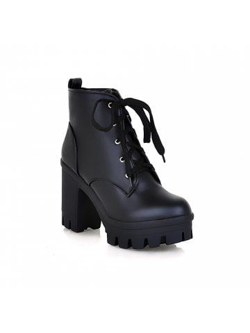 cd02a63bb2c Lace Up Shoes Chunky Heel Platform Plus Size Women s Combat Boots ...