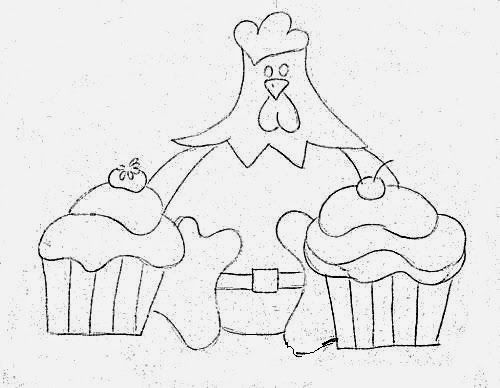 Drawing Chicken with cupcakes