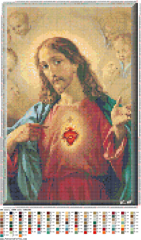 Patrón punto de cruz - Sagrado Corazón de Jesús | ponto ...