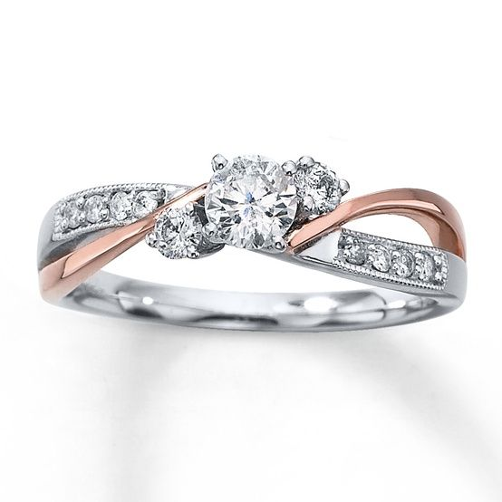 I would love to have this......4. Two Toned Rose Gold Ring... - 7 Stunning Rose Gold Engagement Rings... | All Women Stalk