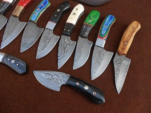 Custom Made Damascus jefferson Hunting Skinning Knives lot of 10