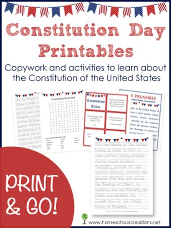 Free Constitution Day printables to use in your classroom or homeschool setting. Includes copy of the preamble, word finds, trivia cards and more.