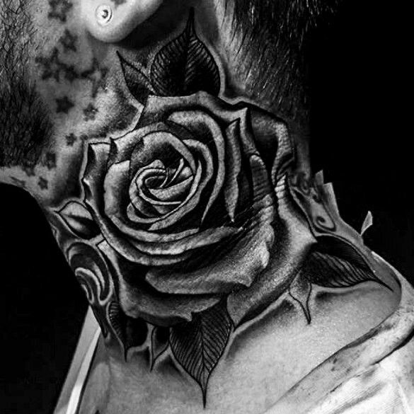 Rose black neck tattoo #necktattoos