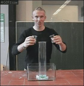 Hydrogen peroxide mixed with potassium iodide [gif] ... Some pretty awesome gifs... Go look. The mercury one looks like something out of a nightmare!