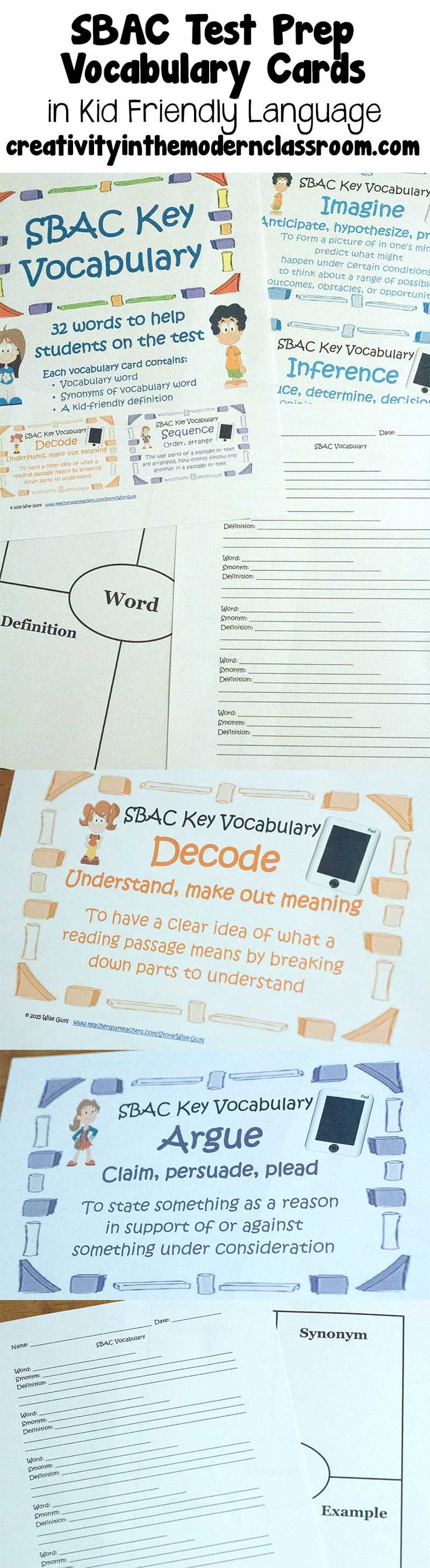 SBAC Vocab Review by the Wise Guys – 32 vocabulary cards in kid-friendly language for SBAC review + a frayer model template for INBs and a worksheet.