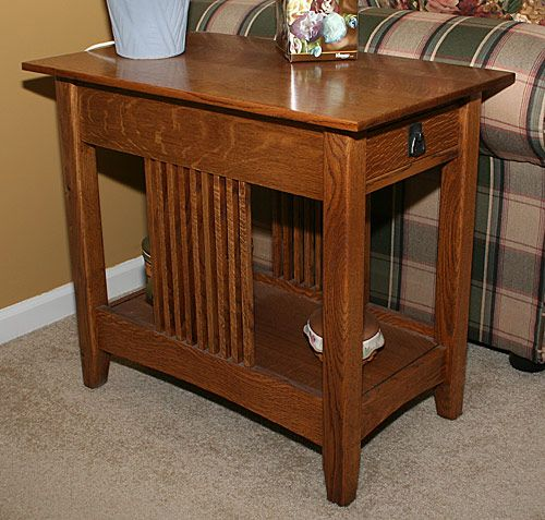 Mission end table plans Nesting table plans Quarter sawn white oak and red oak was used throughout Size 27 high by A woodworker scratch builds Mission style tables