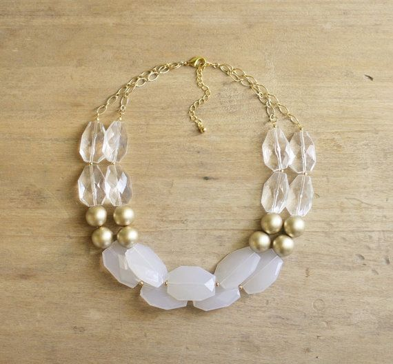Gold Clear and White Statement Necklace by ShopNestled
