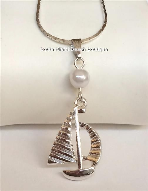 Silver Plated Pearl Sailboat Necklace Pendant Nautical Beach Sailing Boat USA #SouthMiamiBeachBoutique #Pendant