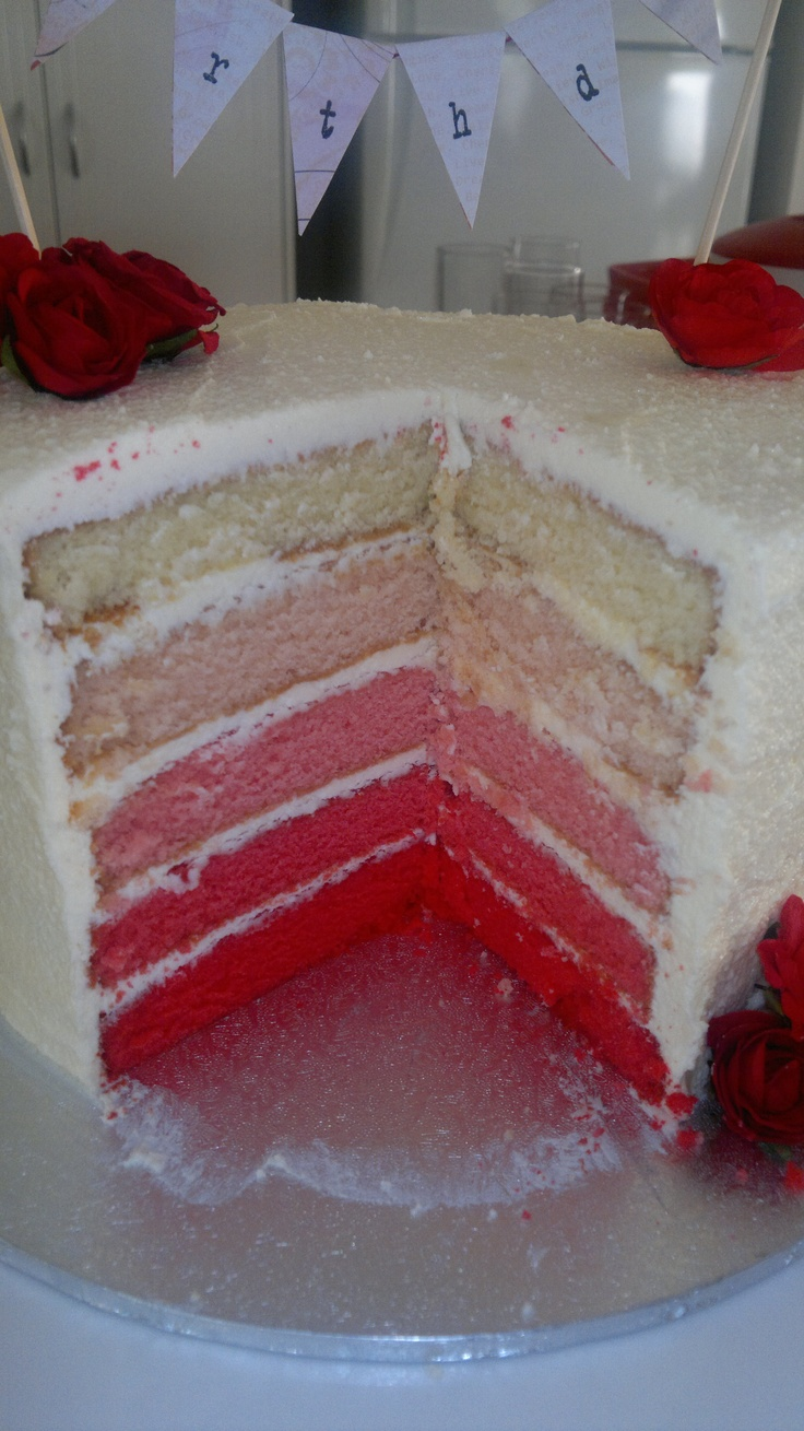 Red Ombre Cake I made - inspired by http://www.raspberricupcakes.com/2011/11/purple-ombre-sprinkle-cake.html
