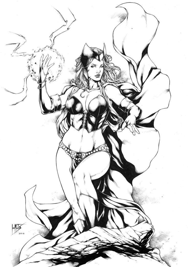 Scarlet witch black white artblack