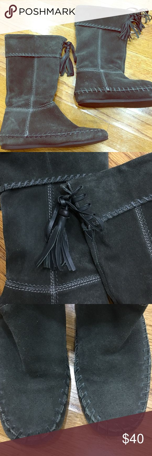 River Island fringed boots Size 7 suede fringed boots. Prelove condition but still looks great and comfortable. Below the knee boots River Island Shoes