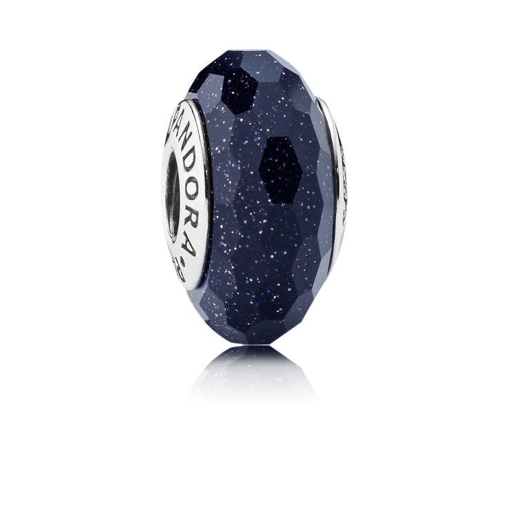 Midnight Blue Stardust Murano Charm - 791628 - Charms | PANDORA