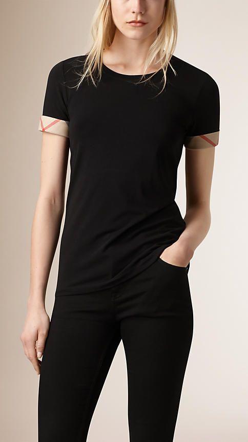 Noir T-shirt en coton extensible avec revers de manche à motif check - Image 1