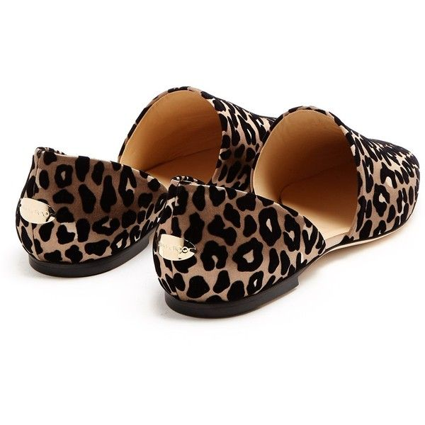 Jimmy Choo Globe flocked leopard-print satin flats ($595) ❤ liked on Polyvore featuring shoes, flats, flat heel shoes, leopard print flat shoes, stacked heel shoes, flat shoes and flat pump shoes