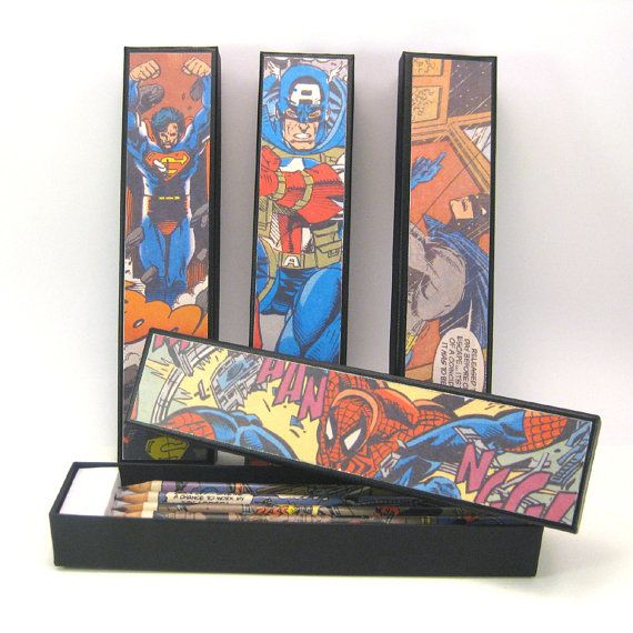 A set of 5 Hand Covered Superhero Pencils in a matching by six0six, €15.00