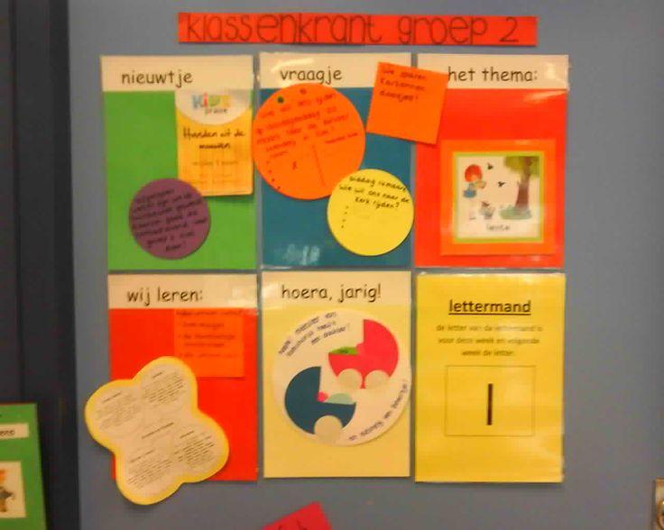 Klassenkrant groep 2 - KlasvanjufLinda.nl - vol met leuke lesideeën en lesidee- zo leuk op de deur! Misschien ook leuk met post-its?