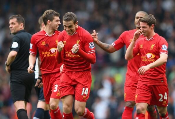 Happy boy. Delight from Jordan Henderson after scoring #LFC's 4th goal today against Spurs in our 4-0 win.