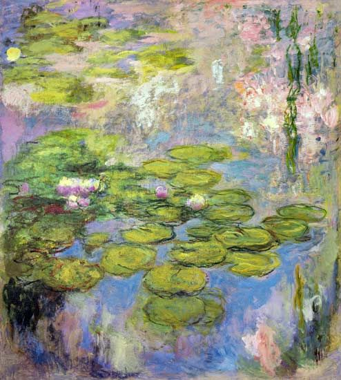 Claude Monet- Waterlilies. My fav painting of his. I've seen it in person. So beautiful. It's also very large. Takes up an entire wall at the museum. It took Claude years to complete this gorgeous masterpiece.