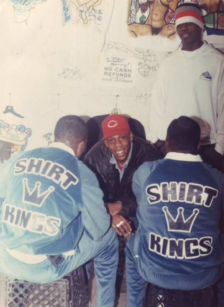 "Jay-Z and Jaz-O in-store at Mighty Shirt Kings shop in the famous Colosseum mall in Queens, photographed by owner Edwin ""Phade"" Sacasa. Circa 1989."
