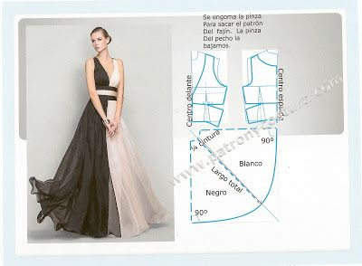 long dress  vestido de noche corte imperio bicolor. Tema 140