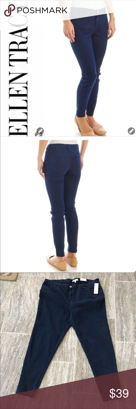 "NWT Ellen Tracy The Skinny Jeans NWT Ellen Tracy The Skinny Jeans are stylish featured in a deep dyed blue denim. These lightweight jeans feature one gold button closure with front fly zip. Classic five pocket design. Tonal stitching. 77%Cotton, 22% Polyester & 1% elastane. These Jeans have a nice give in them. These Jeans are well made and will become a staple piece in your wardrobe. They can easily be dressed up or down. Rise 11"" Inseam 29"" Leg opening 14"". Smoke Free Home. Ellen Tracy…"