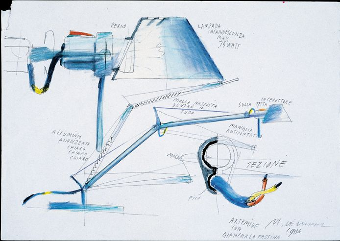 The first sketches of Tolomeo by Michele De Lucchi and Giancarlo Fassina, 1986