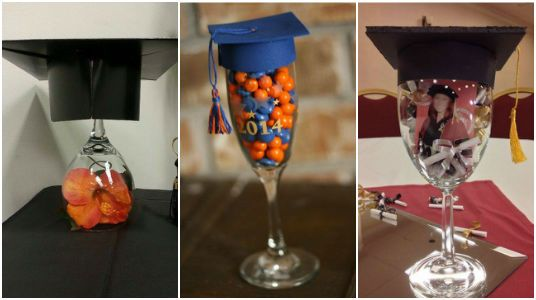 Copas decoradas para Graduación