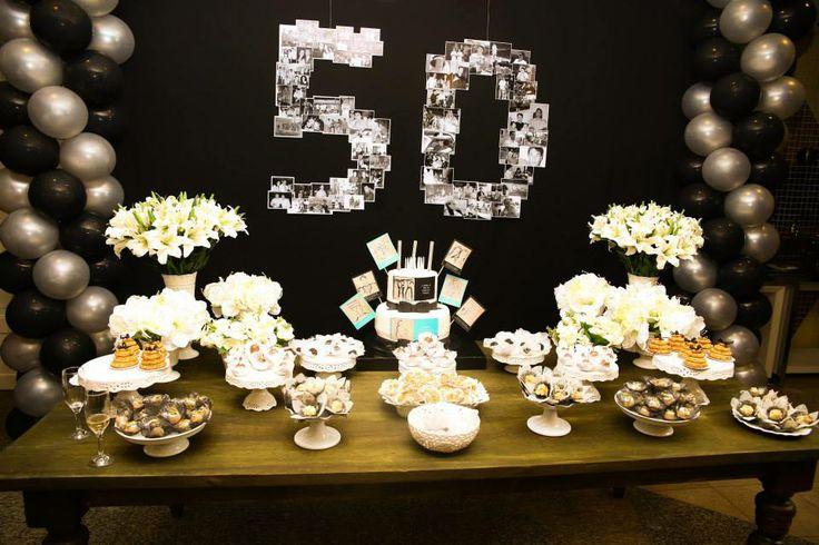 Mesa do bolo 50th masculino