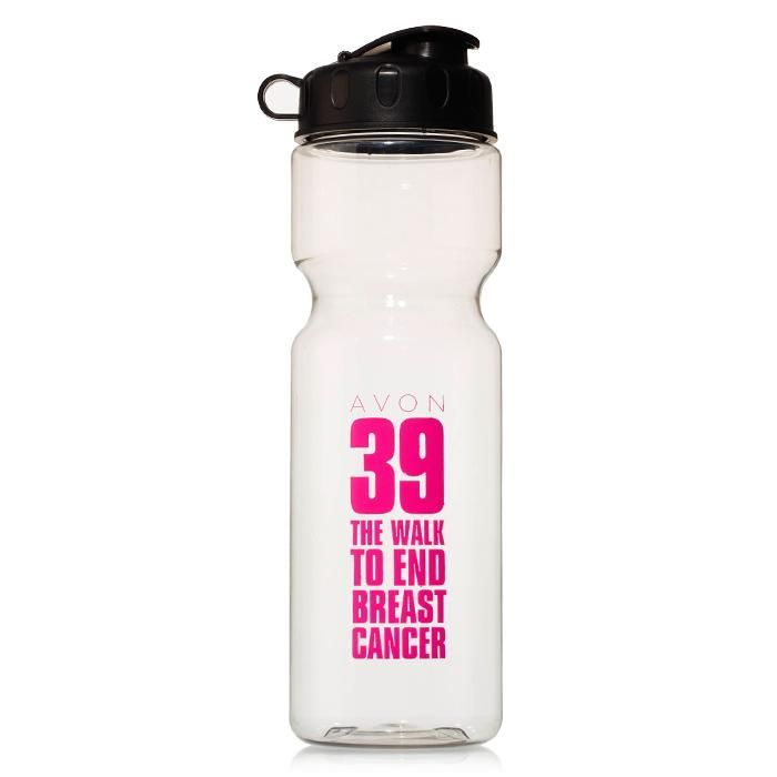Stay hydrated as you walk further than you ever thought you could with this AVON 39, BPA free, 28 oz., water bottle. Clear bottle with black twist-on lid and flip-top cap. Hand wash only. Net proceeds go to the Avon Breast Cancer Crusade. Regularly $10.00.  Buy online at snalley.avonrepresentative.com